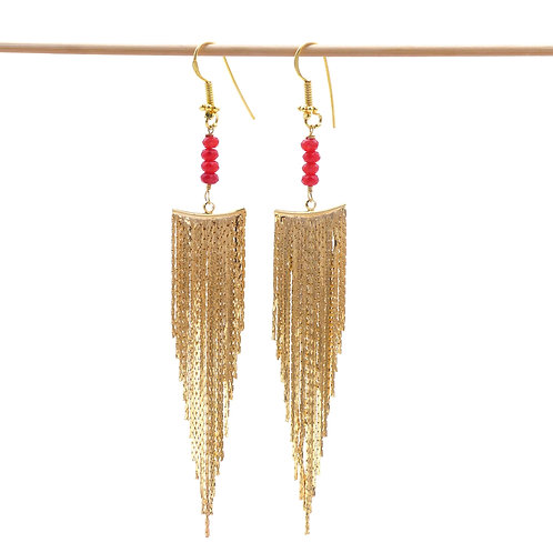Jewelry, Earrings, Gold plated, Rock, Agate, Red, Party, E-shop, The Right to Be Happy, Paris