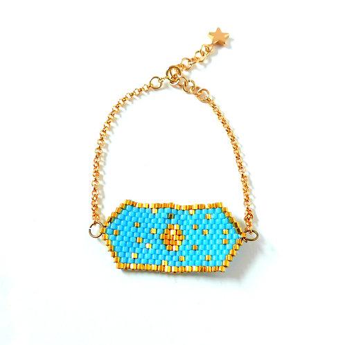 Bijou, Bracelet, chaîne plaqué or, tissage perles Miyuki, bleu, plaqué or, étoile, Boutique Le Droit à la Belle Vie, Paris
