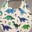 Bavoir motif dinosaure, coton bio, bleu, vert, blanc, Une touche de magie, Boutique Les créateurs de saison, Paris