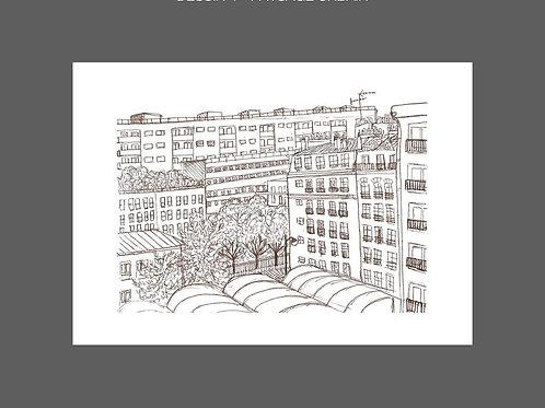 Dessin Depuis la fenêtre, paysage urbain, marron,   Manon Sénal, Boutique Les créateurs de saison, Paris