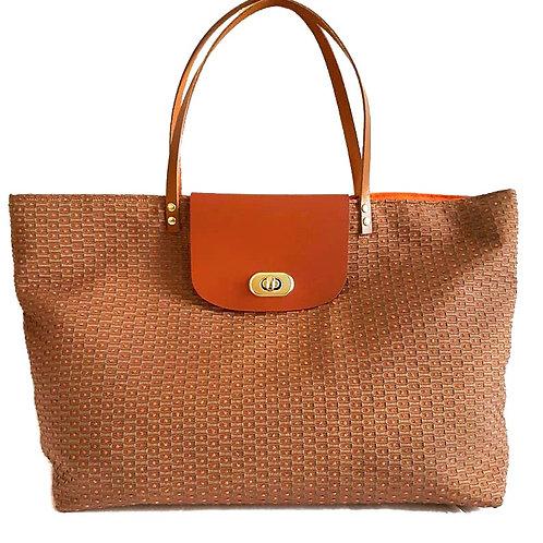 Sac à main Chloé marron et pois orange, coton, Ipséité, Boutique Les Créateurs de saison, Paris