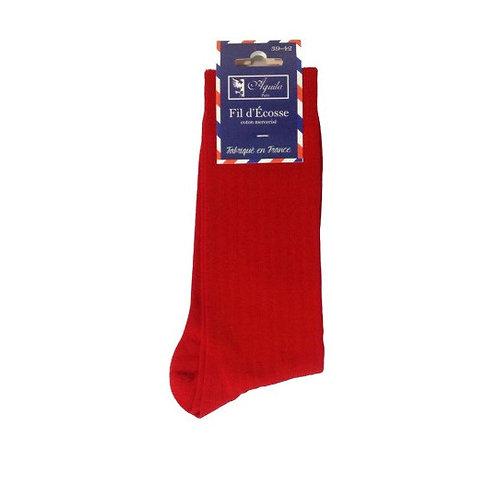 Chaussette, fil d'Ecosse, coton, rouge, Aquila, Boutique Les créateurs de saison, Paris