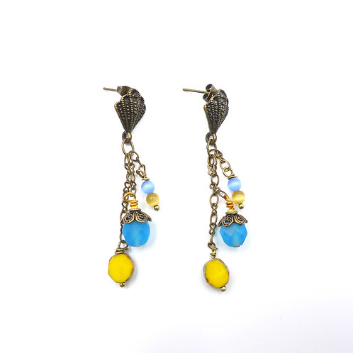 Jewelry, Earrings, brass chain and earstuds, pearl of glass, yellow, blue, E-shop, The Right to Be Happy, Paris