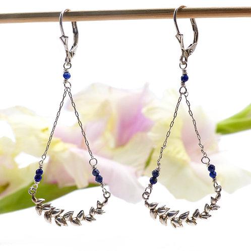 Bijou, Boucles d'oreilles, Argent, épi de blé, lapis-lazuli, bleu, romantique, Boutique Le Droit à la Belle Vie, Paris
