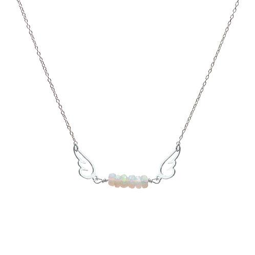 Necklace, silver chain, angel silver plated, opal, E-shop by Le Droit à la Belle Vie (The Right to Be Happy), Paris