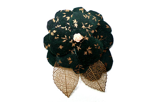 Brooch Flower: dark green leather