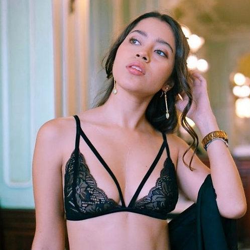 Soutien gorge, sans armature, dentelle de calais, noir, Angela Ruiz lingerie, Boutique Les créateurs de saison, Paris