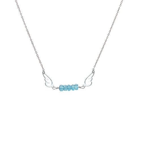 Necklace, silver chain, angel silver plated, aquamarine, E-shop by Le Droit à la Belle Vie (The Right to Be Happy), Paris