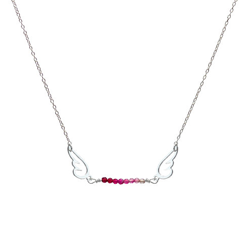 Necklace, silver chain, angel silver plated, pink agate, E-shop by Le Droit à la Belle Vie (The Right to Be Happy), Paris