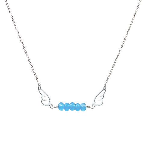 Bijou, Collier, chaîne en argent, agate bleue, pendentif ange plaqué argent, Boutique Le Droit à la Belle Vie, Paris