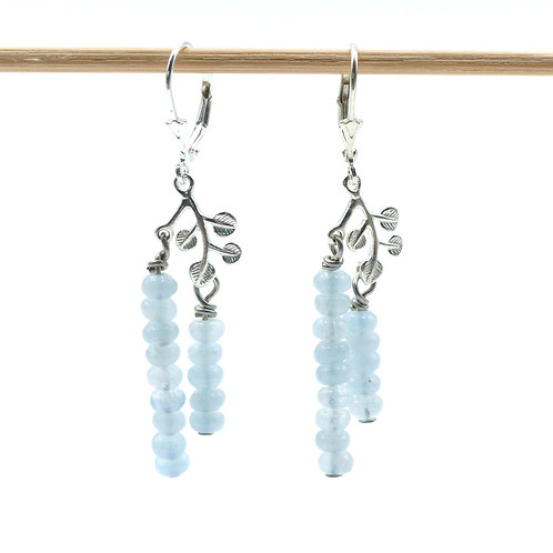 Jewelry, Earrings, 925 silver leaf, aquamarine, 925 silver leverback, E-shop, The Right to Be Happy, Paris
