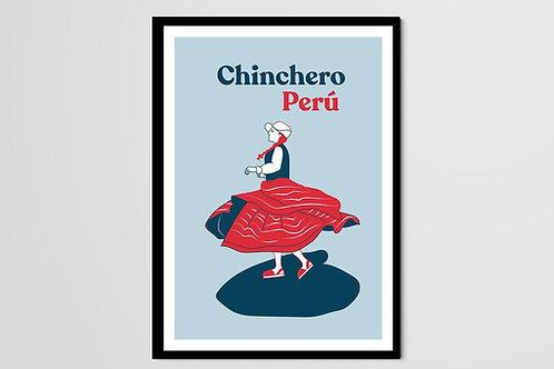 Ménade, Chinchero, danseuse péruvienne, Pérou, femme, rouge, bleu, jupe, Manon Sénal, Boutique Les créateurs de saison, Paris