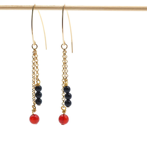 Jewelry, Earrings, Gold-plated chain, onix, red agate, gold-filled 14 carats hook, E-shop, The Right to Be Happy, Paris