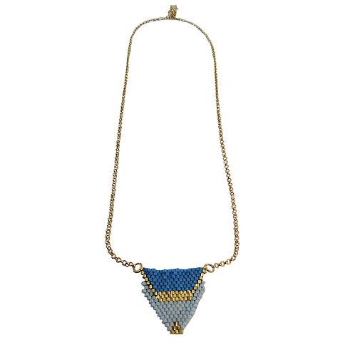 Bijou, Collier, chaîne plaqué or, tissage perles Miyuki, bleu, or, Boutique Le Droit à la Belle Vie, Paris