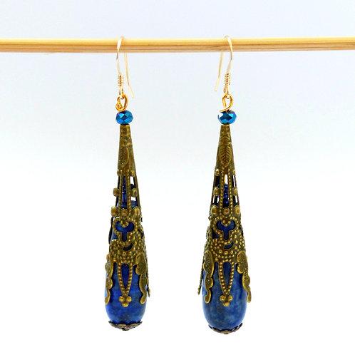 Earrings Eastern (blue) : lapis lazuli, gold earwires (14 karats )