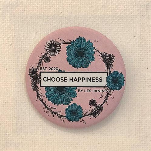 Les Janin's, Badge, Choose Happiness, rose, fleur verte, Boutique Les créateurs de saison, Paris