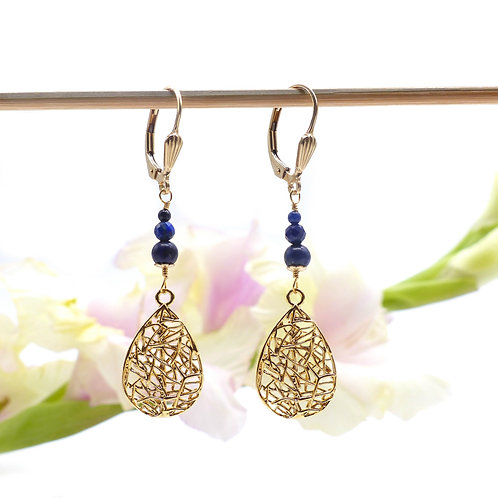 Jewelry, Earrings, Gold plated, Leaf, Lapis lazuli, Blue, E-shop, The Right to Be Happy, Paris