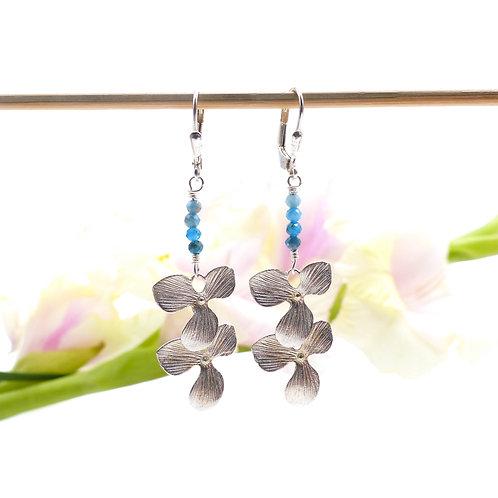 Bijou, Boucles d'oreilles, orchidée, fleur, argent, bleu, Le Droit à la Belle Vie, Boutique Les créateurs de saison, Paris