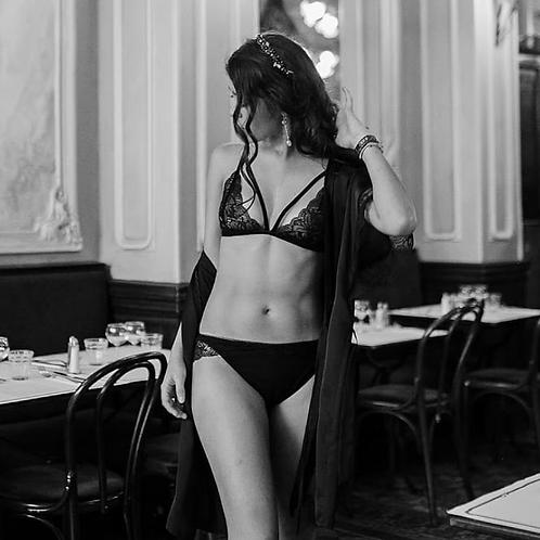 Culotte, noire, dentelle de calais, noir, Angela Ruiz lingerie, Boutique Les créateurs de saison, Paris