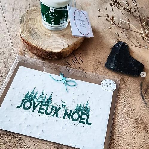 Iza Lan Atelier, Carte postale, carte à planter, Joyeux noël, vert, fleurs, graines, Boutique Les créateurs de saison, Paris
