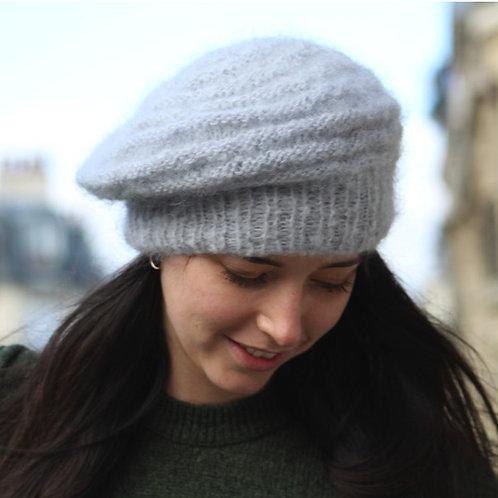 Béret, laine, mohair, gris, tricoté main, De maille en fille, Boutique Les créateurs de saison, Paris