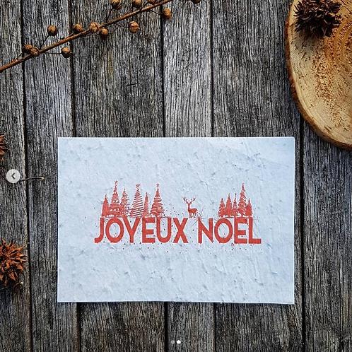 Iza Lan Atelier, Carte postale, carte à planter, Joyeux noël, rouge, fleurs, graines, Boutique Les créateurs de saison, Paris