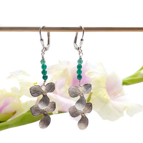 Bijou, Boucles d'oreilles, orchidée, fleur, argent, verte, Le Droit à la Belle Vie, Boutique Les créateurs de saison, Paris