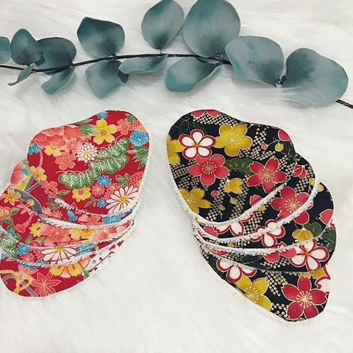 Lingette coeur tissu japonais, coton bio, fleur, rouge, noir, Une touche de magie, Boutique Les créateurs de saison, Paris