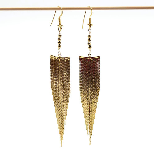 Jewelry, Earrings, Gold plated, Rock, Hematite, Golden, Party, E-shop, The Right to Be Happy, Paris