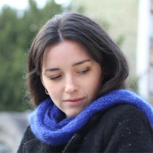 Chèche, mohair et soie, bleu, tricoté main, De maille en fille, Boutique Les créateurs de saison, Paris