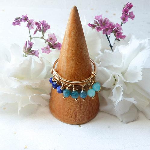 Bague Poupidou bleu : lapis-lazuli, apatite, amazonite