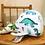 Doudou baleine motif dinosaure, coton bio, vert, blanc, bleu, Une touche de magie, Boutique Les créateurs de saison, Paris