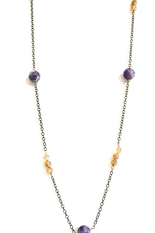 Bijou, Sautoir Crocus, chaîne en laiton, améthyste, pierre fine, violet, blanc, Boutique Le Droit à la Belle Vie, Paris