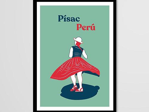 Ménade, Pisac, danseuse péruvienne, Pérou, femme, vert, rouge, jupe, Manon Sénal, Boutique Les créateurs de saison, Paris