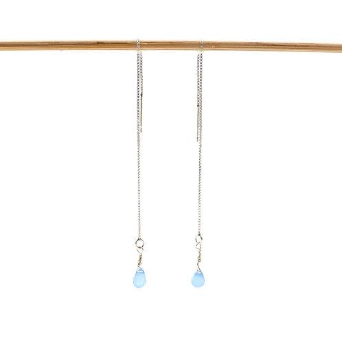 Bijou, Boucles d'oreilles, chaînette d'oreille en argent 925, calcédoine, bleu, Boutique Le Droit à la Belle Vie, Paris