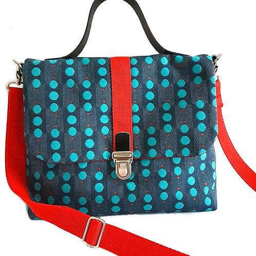 Sac à main Roxanne tissu à pois bleus, coton, Ipséité, Boutique Les Créateurs de saison, Paris
