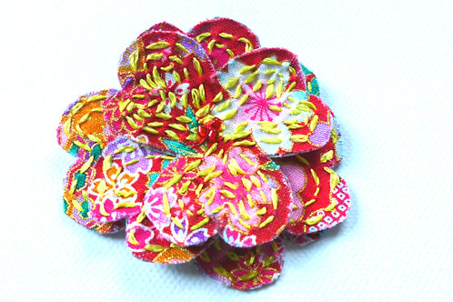 Brooch Flower: Japanese fabric