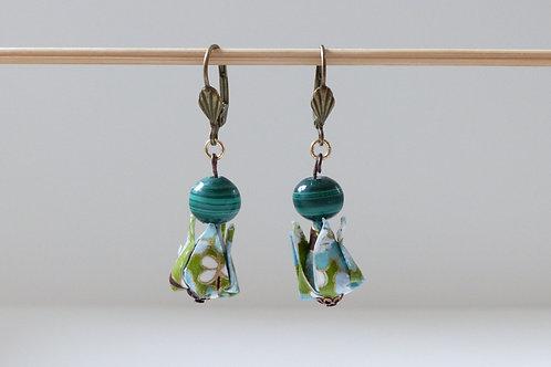 Earrings Green Lotus