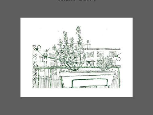 Dessin Depuis la fenêtre, Balcon, vert, Manon Sénal, Boutique Les créateurs de saison, Paris
