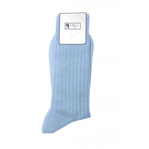 Chaussette, fil d'Ecosse, coton, bleu clair, Aquila, Boutique Les créateurs de saison, Paris
