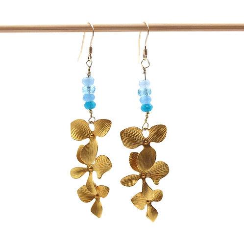 Bijou, Boucles d'oreilles, orchidée, agate, bleu, cadeau soirée, Boutique Le Droit à la Belle Vie, Paris