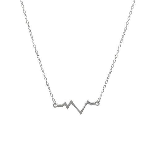 Necklace, silver chain, silver pendant, flash of lightning, E-shop by Le Droit à la Belle Vie (The Right to Be Happy), Paris