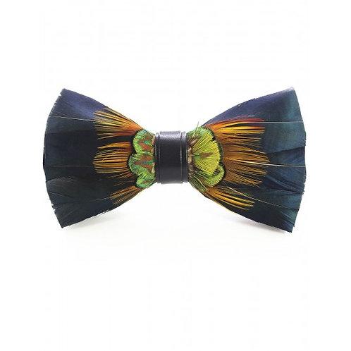 Noeud papillon, plume de canard et paon, bleu, vert, Fabliot, Boutique Les créateurs de saison, Paris
