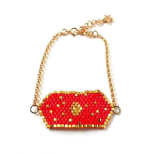 Bijou, Bracelet, chaîne plaqué or, tissage perles Miyuki, rouge, plaqué or, étoile, Boutique Le Droit à la Belle Vie, Paris