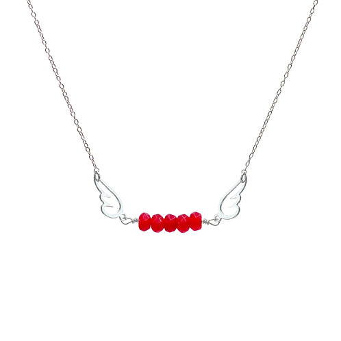 Necklace, silver chain, angel silver plated, red agate, E-shop by Le Droit à la Belle Vie (The Right to Be Happy), Paris
