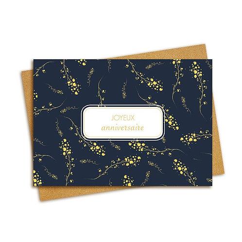 Carte postale Joyeux anniversaire : bleu et feuille or