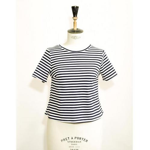 Tee-shirt, marinière, rayure, blanc et bleu marine, Géno, Boutique Les créateurs de saison, Paris