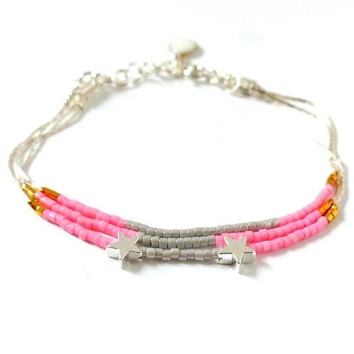 Bijou, Bracelet, chaîne serpentine en argent, perles Miyuki, rose, gris, étoile, Boutique Le Droit à la Belle Vie, Paris