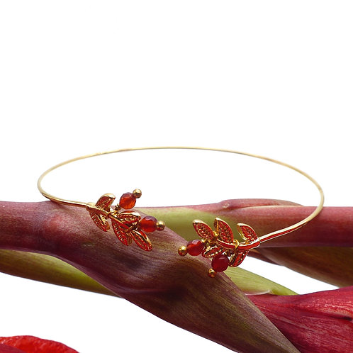 Bangle, bracelet, golden,  red carnelian, Jewellery, The Right to Be Happy, Paris