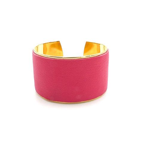 Manchette, bracelet doré à l'or fin, cuir, rose, upcyclé, cadeau, Boutique Le Droit à la Belle Vie, Paris